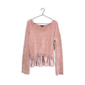 American Eagle Chenille Peplum Hem Sweater Pink S